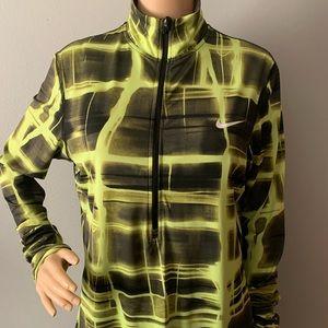 Nike Pro Core Half-zip LS Top Black Volt Green XL